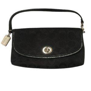 Coach Signature C Print Black Fabric Baguette Bag